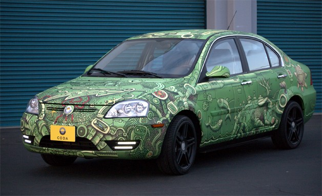 Green Coda Sedan with funky vinyl wrap
