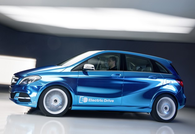 Side view of blue B-class E-drive