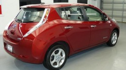 Cayenne Red Nissan Leaf Rear View