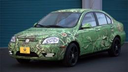 Green Coda Sedan with ipad inspired wrap with fish