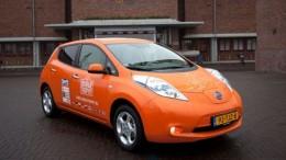 orange Nissan Leaf front view from OrangeTrophy.com