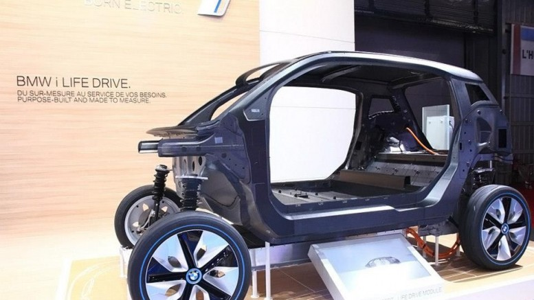Side view of bare body shell of BMW i3 made of carbon fiber