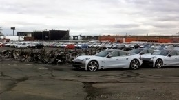 FIsker Karma electric vehicles at Port Newark destroyed by Superstorm Sandy