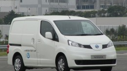 Side view of e-NV200 electric van prototype in Oppama Japan