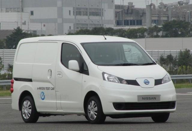 Side view of e-NV200 electric van prototype in Oppama Japan