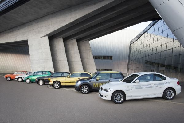 Row of BMW electric vehicles from past 40 years